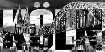 Köln Cologne mit Hohenzollernbrücke und Dom schwarz weiß von Bass Artist