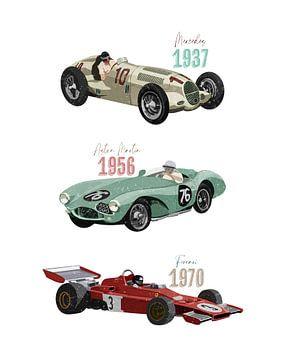 Vintage raceauto's van Goed Blauw