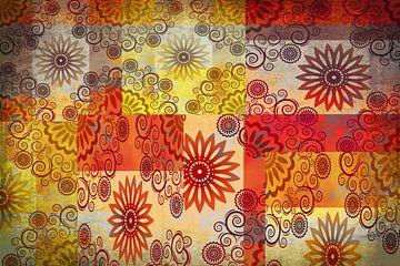 Collage van sterren, rood en geel van Rietje Bulthuis