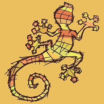 Bunter Gecko - Skizzenstil mit groben Linien von Emiel de Lange