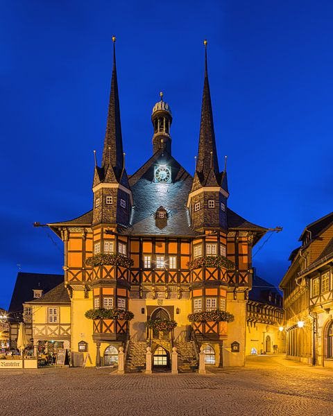 The famous Town Hall in Wernigerode, Harz, Saxony-Anhalt, Germany. van Henk Meijer Photography