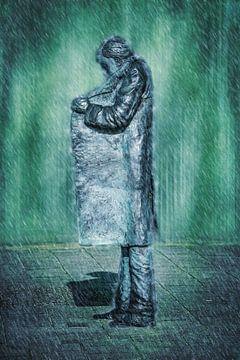De sigarettenman in de regen (kunst, Vlissingen) van Art by Jeronimo