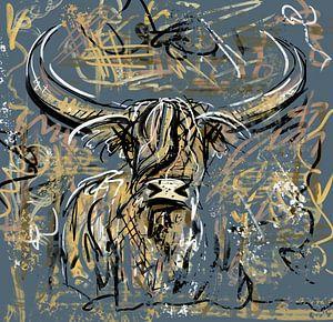 Abstraktes Kunstwerk eines schottischen Highlanders im Graffiti-Stil von Wanddecoratie
