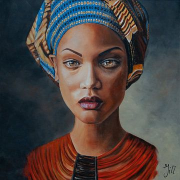 Gemälde Dame mit Leinwand von Bianca ter Riet