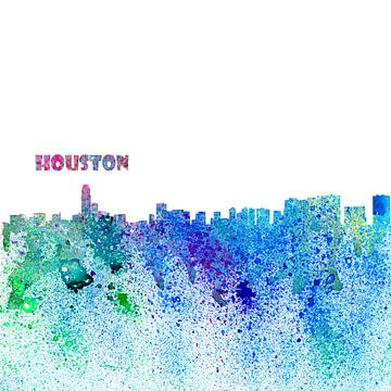 Houston Texas Skyline Silhouette Impressionistisch van Markus Bleichner