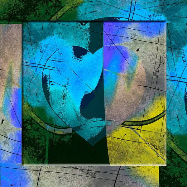 Heart abstract blue van Rosi Lorz