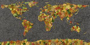 Wereldkaart Herfstblaadjes van Frans Blok