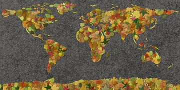 Weltkarte Herbstblätter von Frans Blok