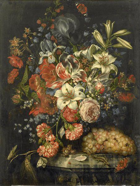 Stilleben mit Blumen und Früchten, Ottmar Elliger (I) von Meesterlijcke Meesters