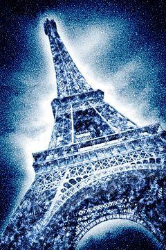 Graphic Art | Frosty Eiffeltower in snow flurry sur Melanie Viola