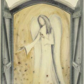 Raam aanzicht - Engel voor de deur van Christine Nöhmeier