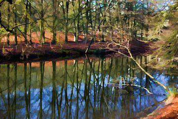 Bomenrij, reflecterend in het water.  van Robert Wiggers