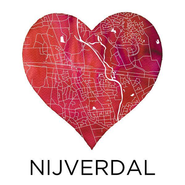 Liefde voor Nijverdal | Stadskaart in een hart van Wereldkaarten.Shop