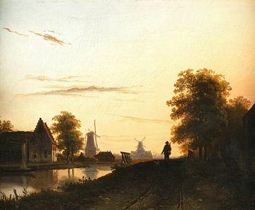 Paysage fluvial néerlandais dans la lumière du soir, Charles Leickert sur