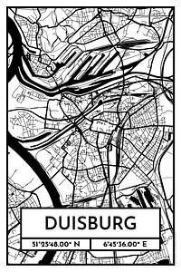 Duisburg – City Map Design Stadtplan Karte (Retro)