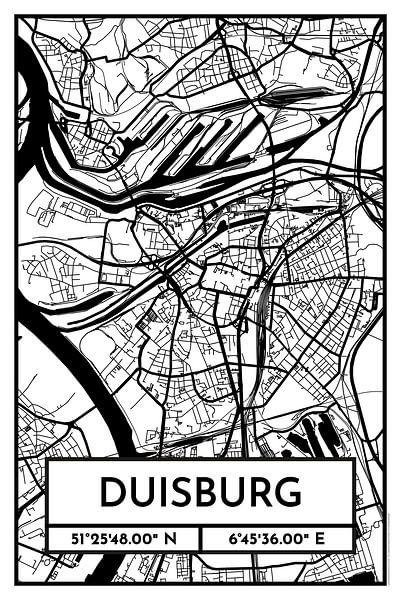 Duisburg – City Map Design Stadtplan Karte (Retro) von ViaMapia