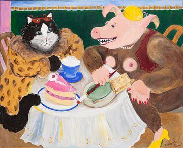 Schweinehündin mit Freundin im Café von Dorothea Linke