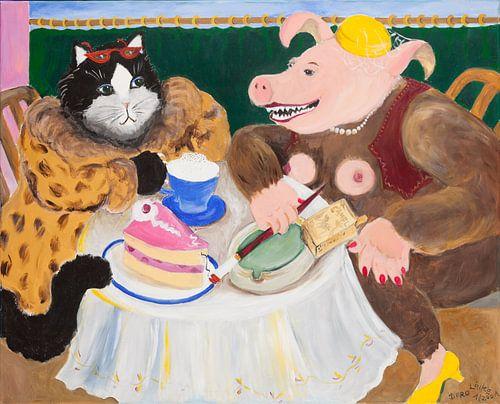 Schweinehündin mit Freundin im Café