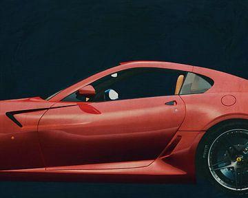 Schilderij van een Ferrari 599 GTB Fiorano 2006 Rood