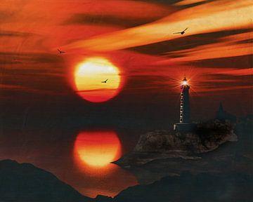 De vuurtoren van St Mathieu met een zonsondergang en Stratus wolken
