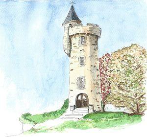 Watertoren in klein Frans plaatsje