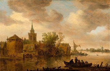 Riviergezicht met kerk en boerderij, Jan van Goyen