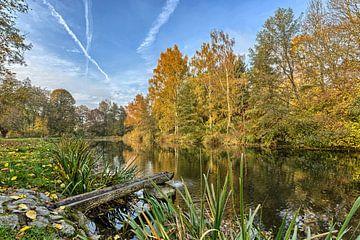 Kleurrijke herfst aan het Mühlbachmeer van Uwe Ulrich Grün
