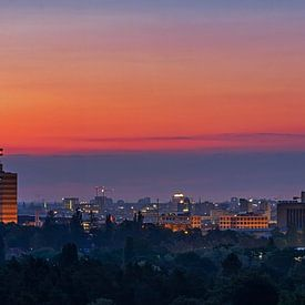 Panorama de la Skyline de Berlin au lever du soleil sur Frank Herrmann