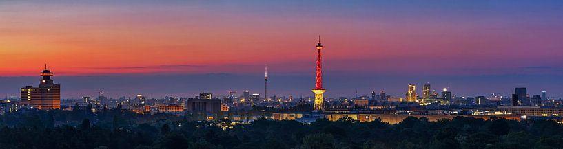 Berlin Skyline Panorama im Sonnenaufgang von Frank Herrmann