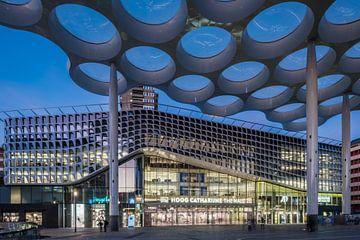 Les gens marchant sous le toit en forme de bulbe font leurs courses dans le centre commercial Hoog C sur John Verbruggen