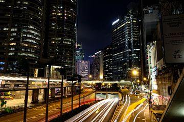 Nachtbeeld van Rumsey street in het centrum van Hong Kong von Arthur Puls Photography