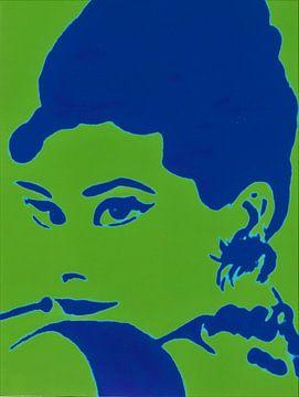 Audrey in groen en blauw. van Ineke de Rijk