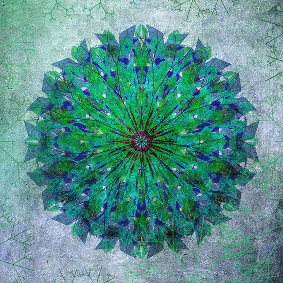 Mandala - grunge in green and blue
