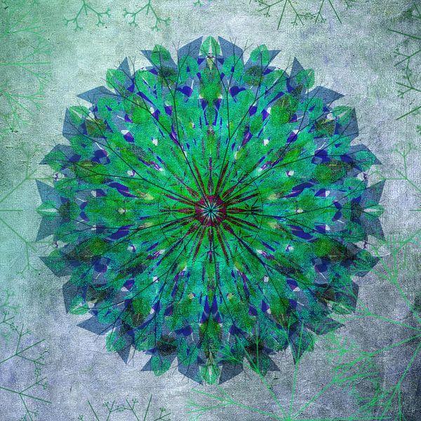 Mandala - grunge in green and blue van Rietje Bulthuis