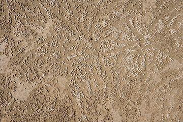 Zandballen op het strand van