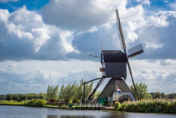 Wipmolen bij Kinderdijk, Nederland van Rietje Bulthuis
