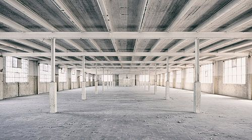 Verlassene Orte: Sphinx Fabrik Maastricht Eiffel Gebäude Säulen und Sparren von Olaf Kramer
