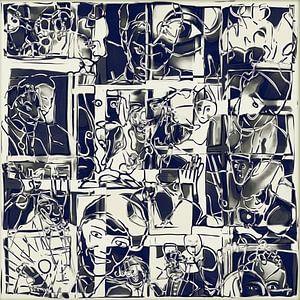 Collage van een dag leven in wit zwart van