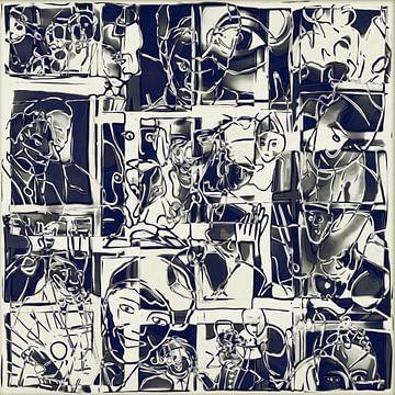 Collage van een dag leven in wit zwart sur Henk van Os