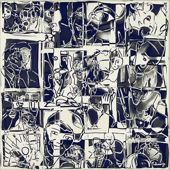 Collage van een dag leven in wit zwart van Henk van Os