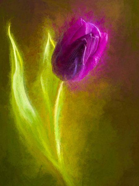 Geschilderde paarse tulp van Arjen Roos