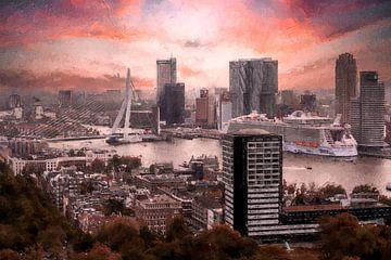 Rotterdam skyline vanaf de Euromast van Digitale Schilderijen