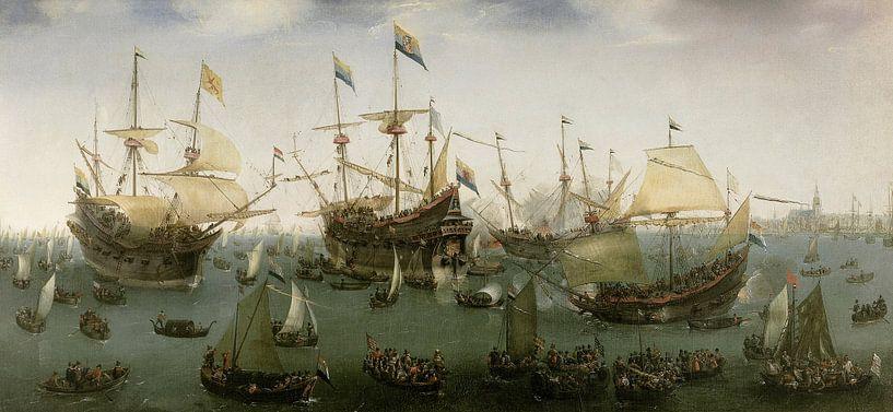 De terugkomst in Amsterdam van de tweede expeditie naar Oost-Indië, Hendrik Cornelisz. Vroom sur Schilders Gilde