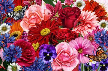 Bloemen collage van Jeannette Penris