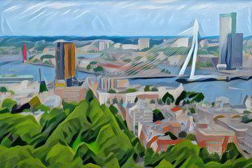 Abstract Schilderij Skyline Rotterdam van Slimme Kunst.nl
