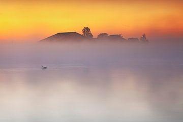 Une ferme à moitié cachée dans une couverture de brouillard matinal sur Eelco de Jong