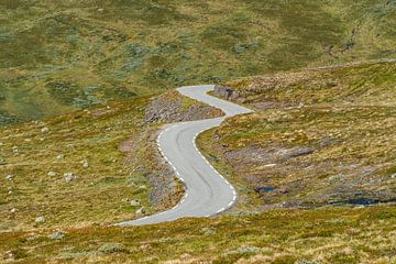Kurvige Straße in bergigem Gebiet. von Axel Weidner