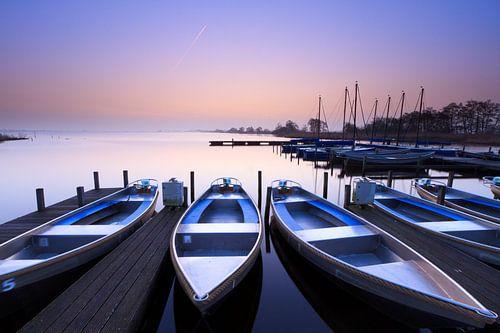 Blauwe zonsopkomst - Leekstermeer, Nederland van
