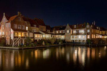 Nacht im alten Hafen von Enkhuizen von Anneke Reiss