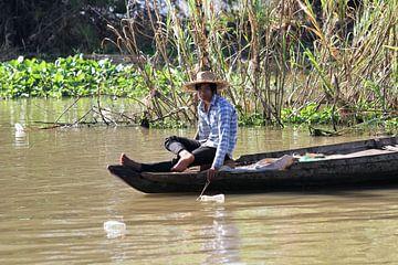 Fischer auf dem Sanker Fluss van Levent Weber
